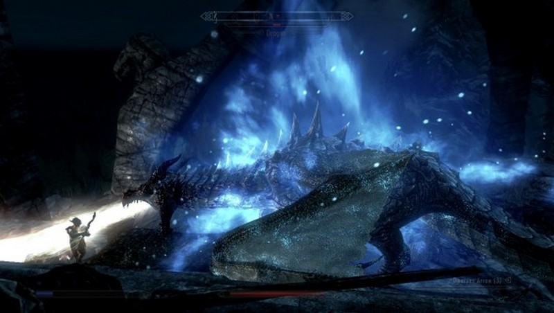 Skyrim gameplay screen footage