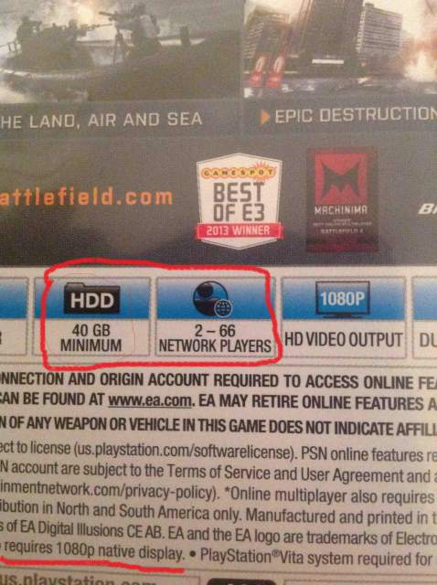 battlefield 4 ps4 back cover  40 gb hdd space needed for