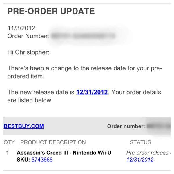 Best Buy Email Assassin's Creed III delayed