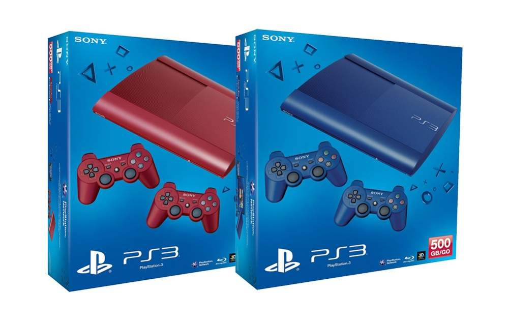PS3 Super Slim in Red and Blue Color