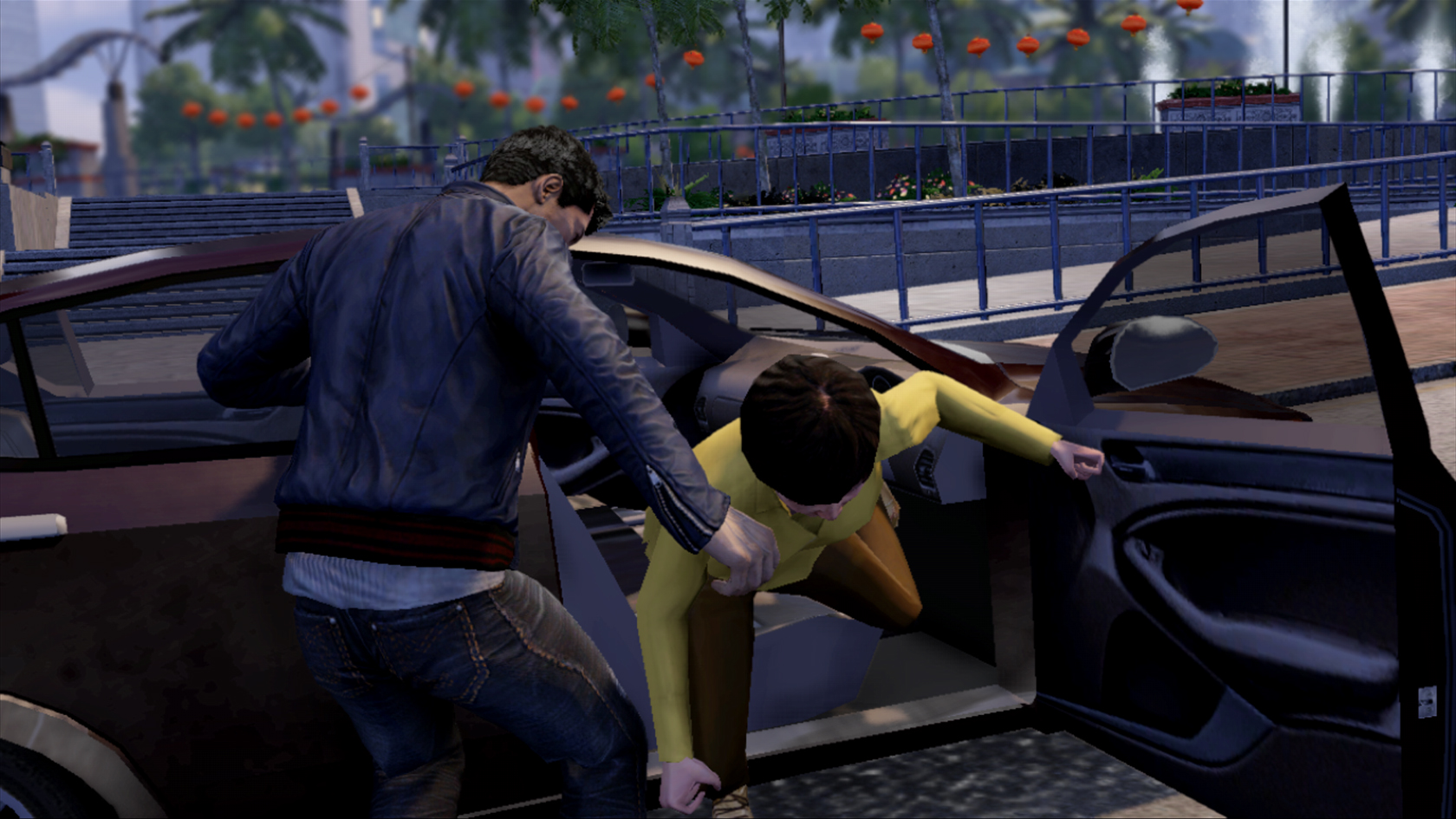 new sleeping dogs screenshots show cars bikes and explosion. Black Bedroom Furniture Sets. Home Design Ideas
