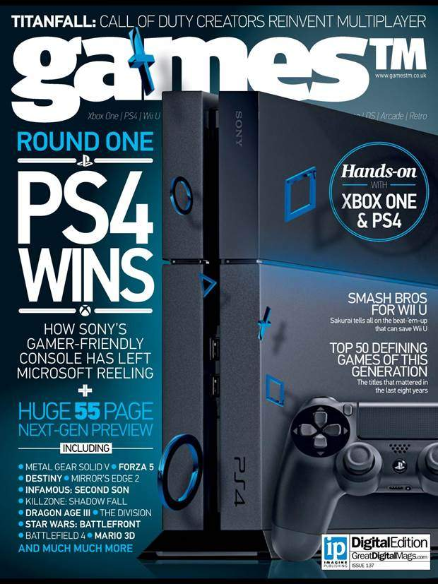 """Toggle Switch Cover >> """"Round One: PS4 Wins"""" says GamesTM Magazine Latest Issue Cover"""