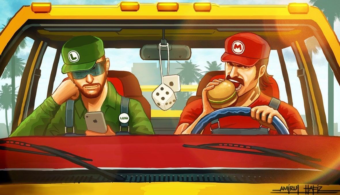 Mario and Luigi in GTA V universe, Unofficial Artworks ... Rockstar Games Tattoo