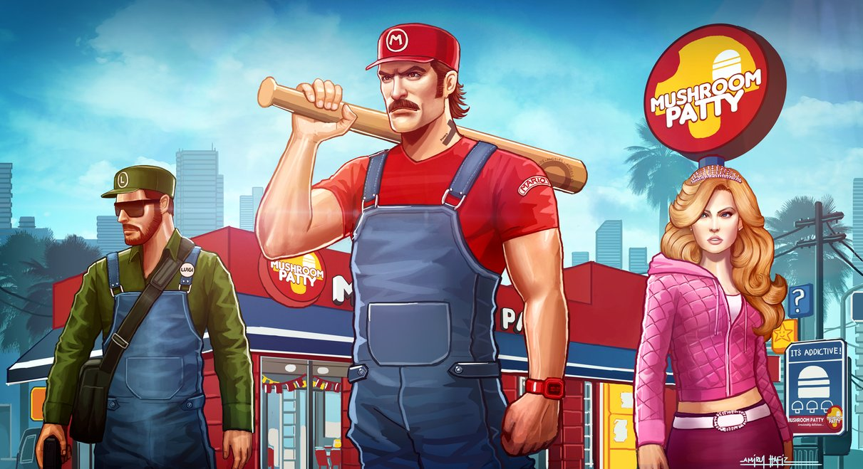 Gta 5 Anime Characters : Mario and luigi in gta v universe unofficial artworks