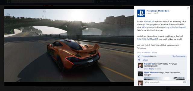 Playstation Using Forza 5 Image To Promote DriveClub