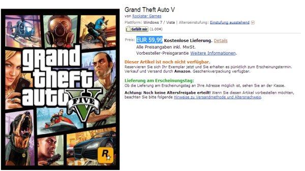 GTA V for PC: Amazon Germany Listing
