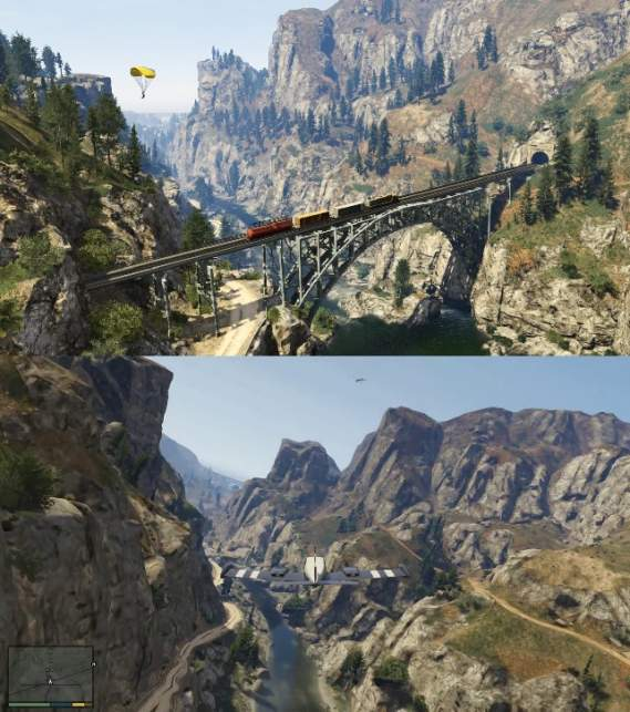 GTA V: Gameplay Comparison Screenshot 1