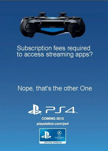 PS4 Take Shot At Xbox One For Streaming App Subscription