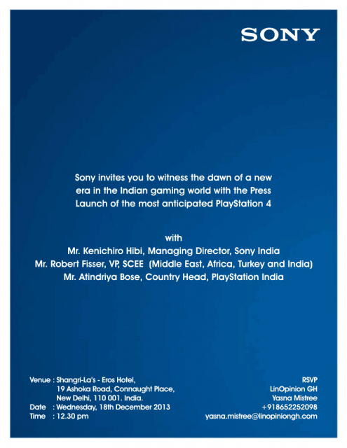 PS4 Launch In India Media Invitation Image 2