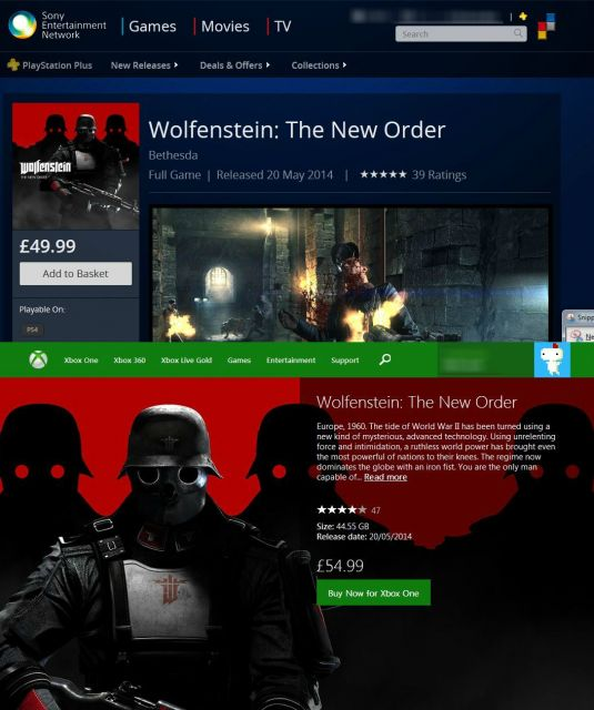 Wolfenstein: The New Order PS4 vs Xbox One Price Differences