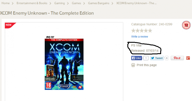 XCOM: Enemy Unknown The Complete Edition PS Vita listing