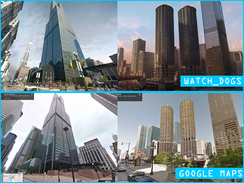 Watch Dogs Vs Google Map Chicago City Comparison Screenshots Watch