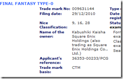 Final Fantasy: Type 0 trademark