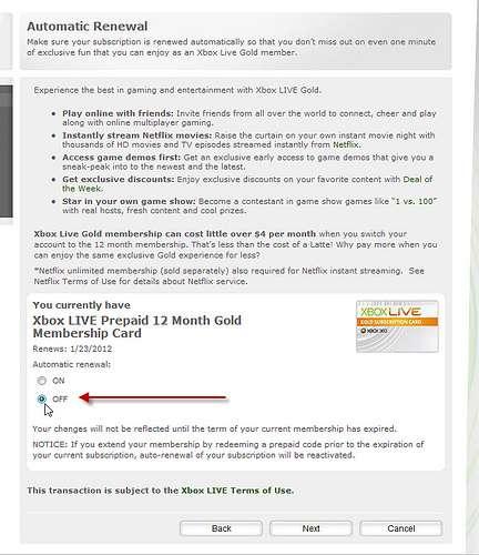 Xbox Live Automatic Renewal settings