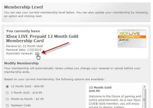 Xbox Live Membership subscription page