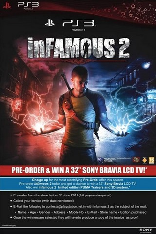 Infamous 2 pre-order poster