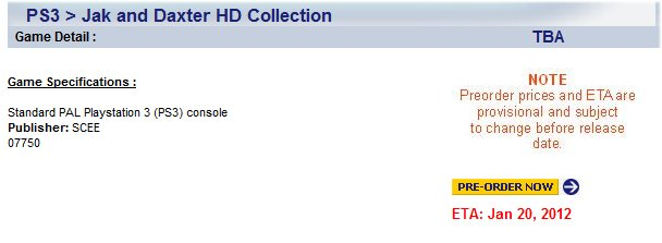 Jak and Daxter HD Collection listing