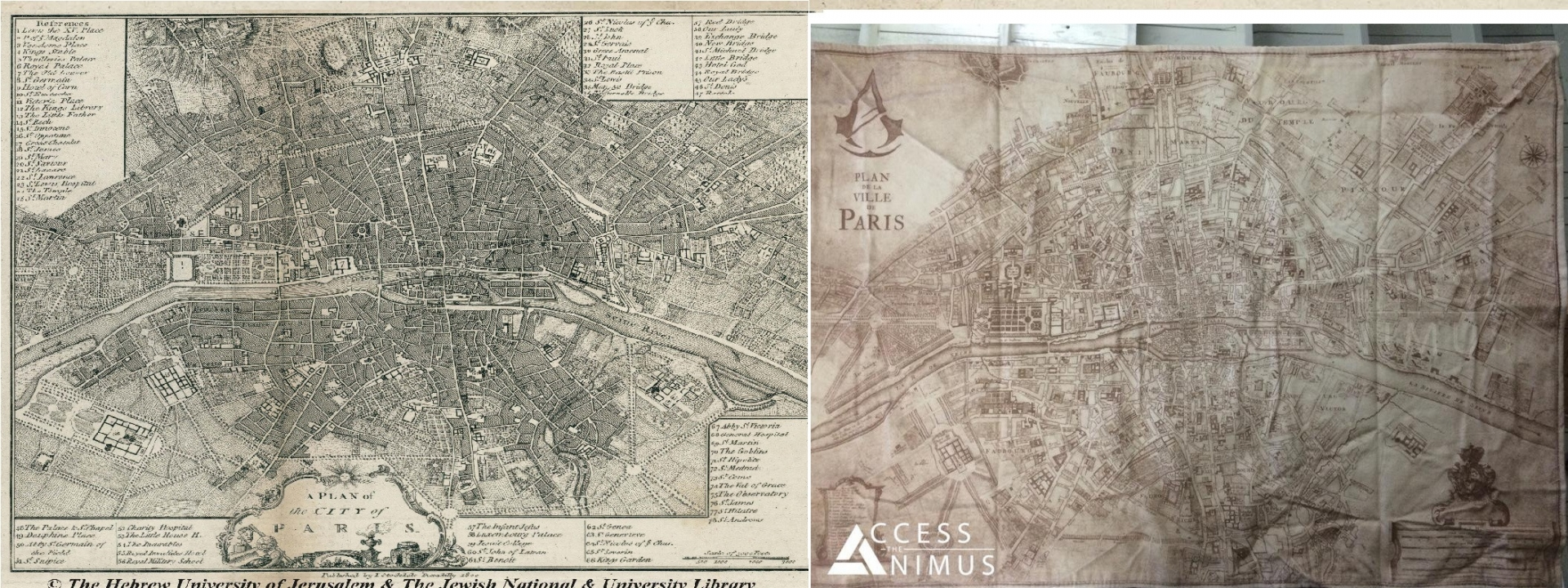 Assassin's Creed Unity Real Paris Map vs In-Game Paris Map