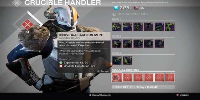 Destiny: The Taken King Shaxx and Crucible Quartermaster Bounties