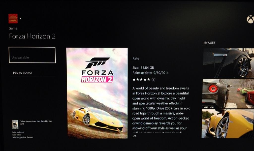 forza horizon 2 xbox one hdd installation size leaked via marketplace listing. Black Bedroom Furniture Sets. Home Design Ideas