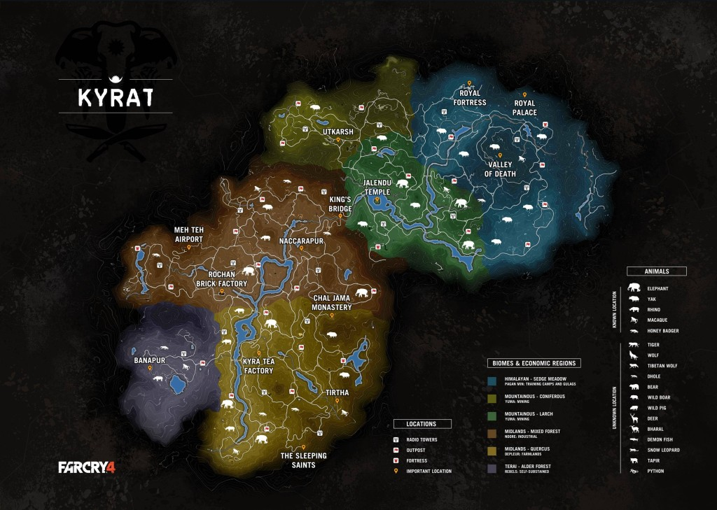 Official Far Cry 4 Map Leaked With Full Details Kyrat