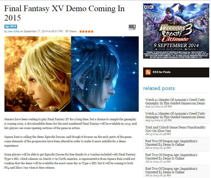 Final fantasy type 0 release date in Perth