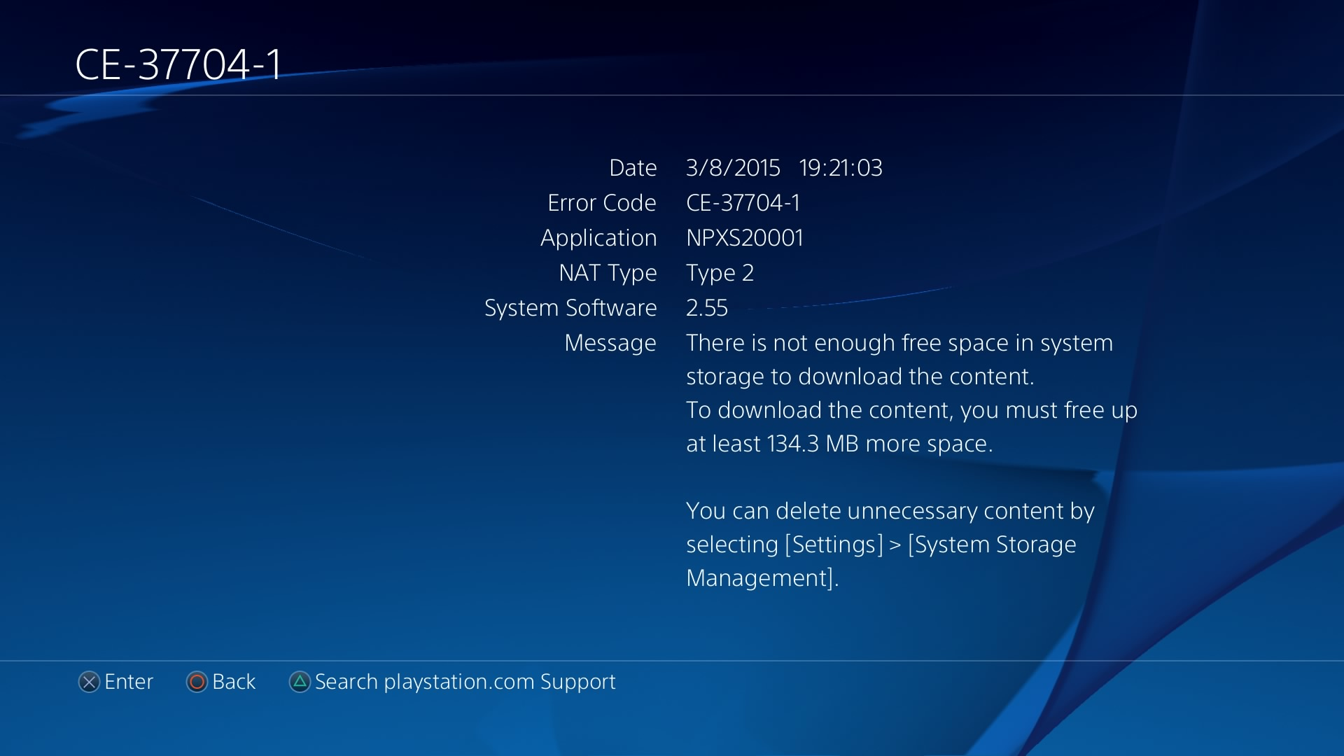 PlayStation 4 Users Experiencing New Free Space Error Code CE-37704