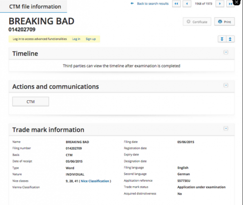 Breaking Bad Trademark Application From Sony