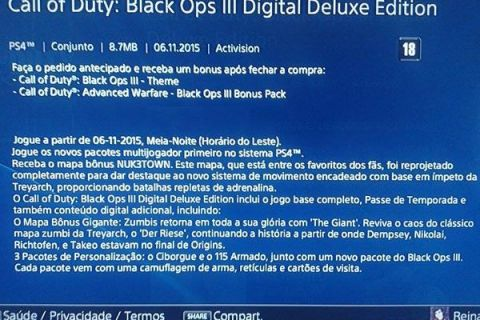 Call of Duty: Black Ops III PS Store Brazil Listing