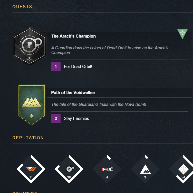 This is what the dead orbit quest line looks like check out the first