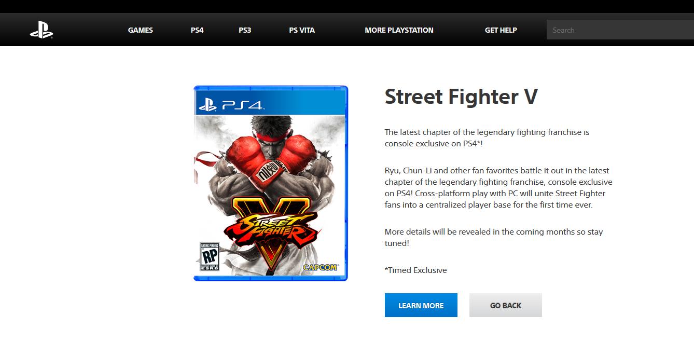 Street Fighter V PlayStation Site Listing