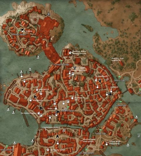 The Witcher 3: Wild Hunt Novigrad Map With Vendors Location Marked