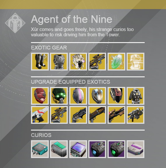 For apr 24 destiny xur agent of the nine is selling exotic weapon