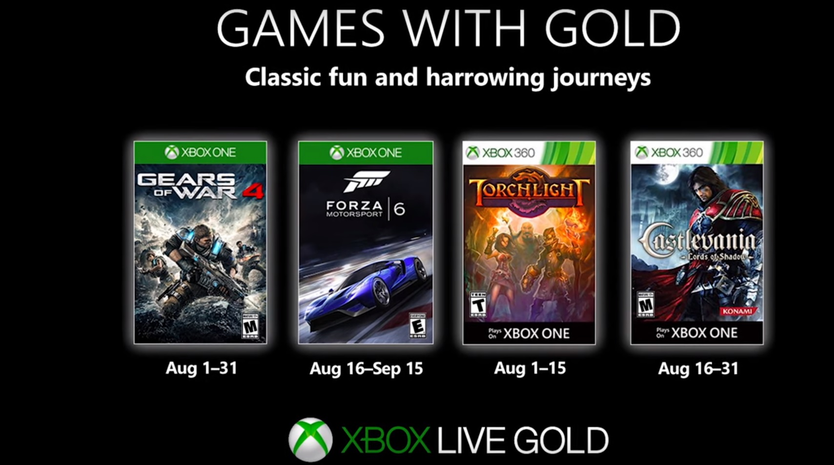These are Xbox's free Games with Gold for August 2020