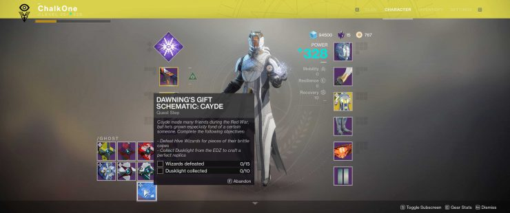 Destiny 2 - The Dawning's Gift Schematic: Cayde