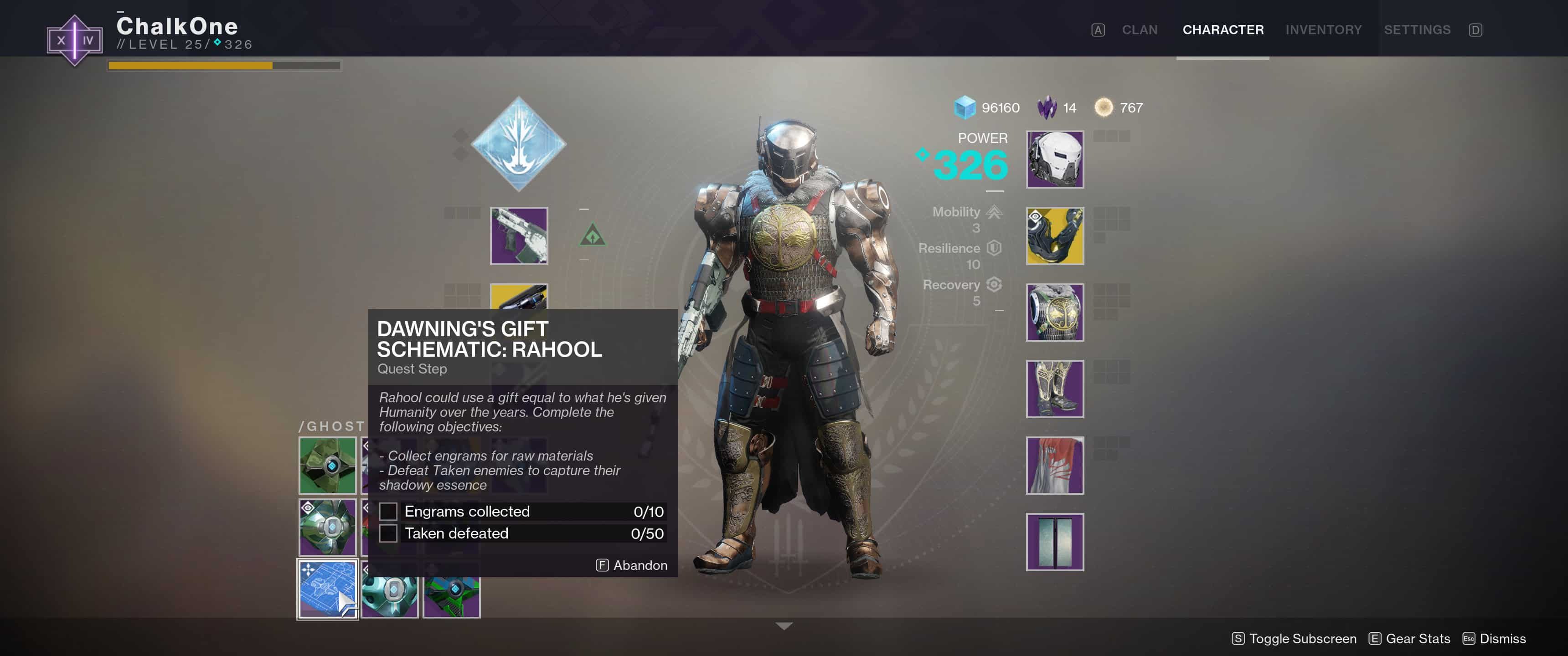 Destiny 2 - The Dawning\'s Gift Schematic: Rahool - TL;DR Games