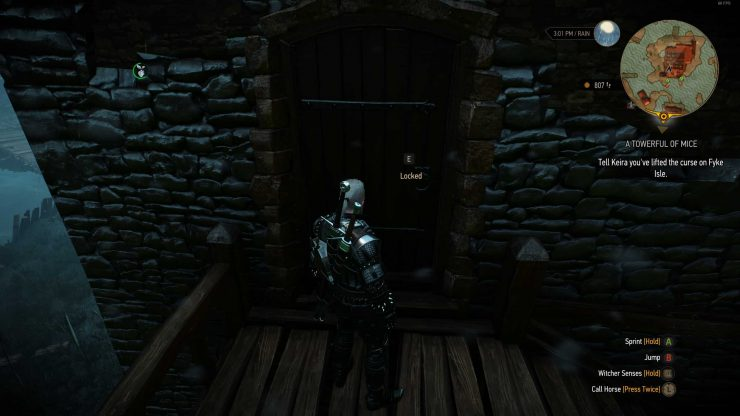 The Witcher 3 Fyke Isle Towerful of Mice Locked Door