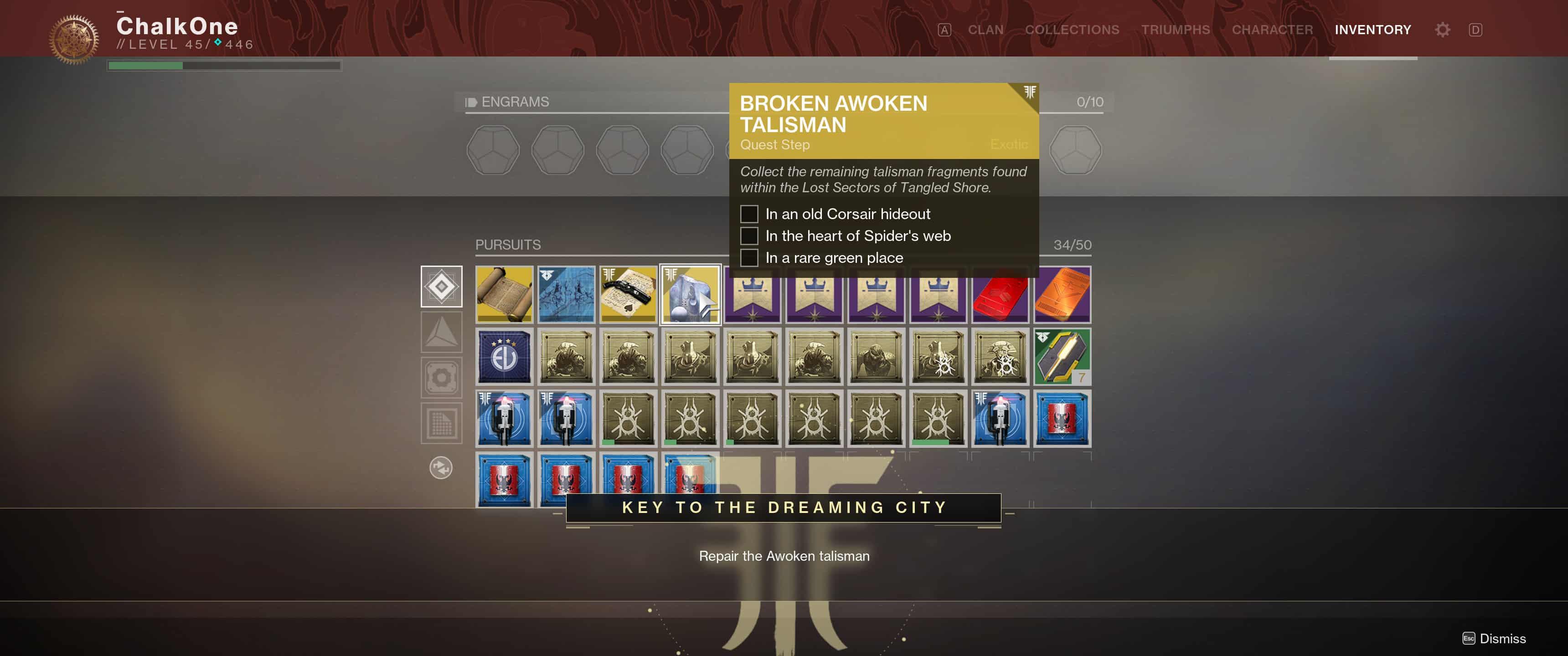 Repair the Broken Awoken Talisman & Unlock the Dreaming City