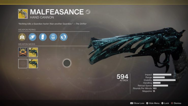How to Get the Malfeasance Exotic Hand Cannon in Forsaken