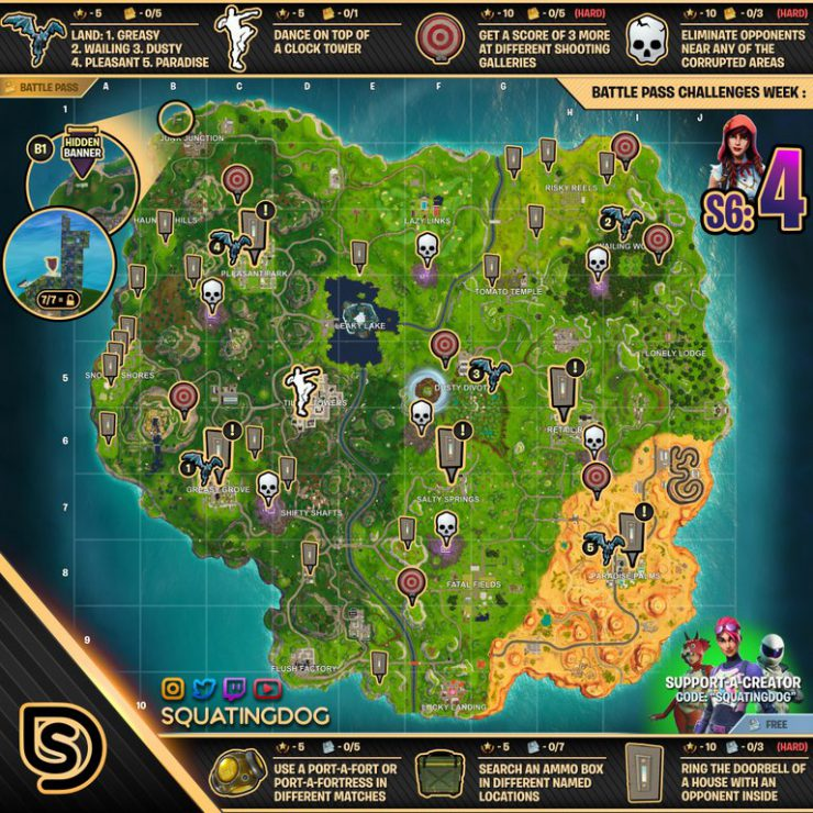 Fortnite Week 4 Challenges Cheat Sheet - Season 6