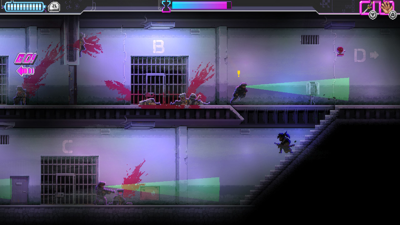 Katana Zero player character hiding on stairs with enemies above and below