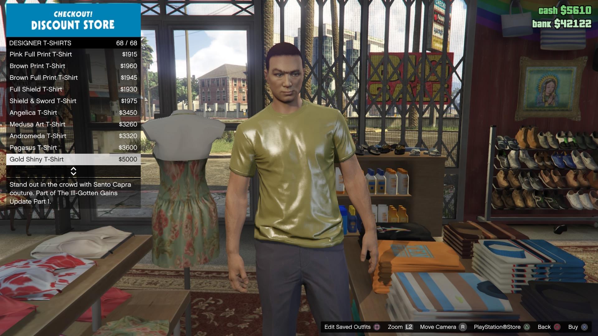 GTA Online Gold Shiny Tee
