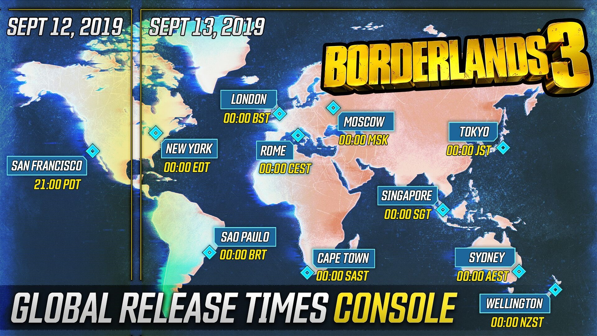 Borderlands 3 Console Release Times