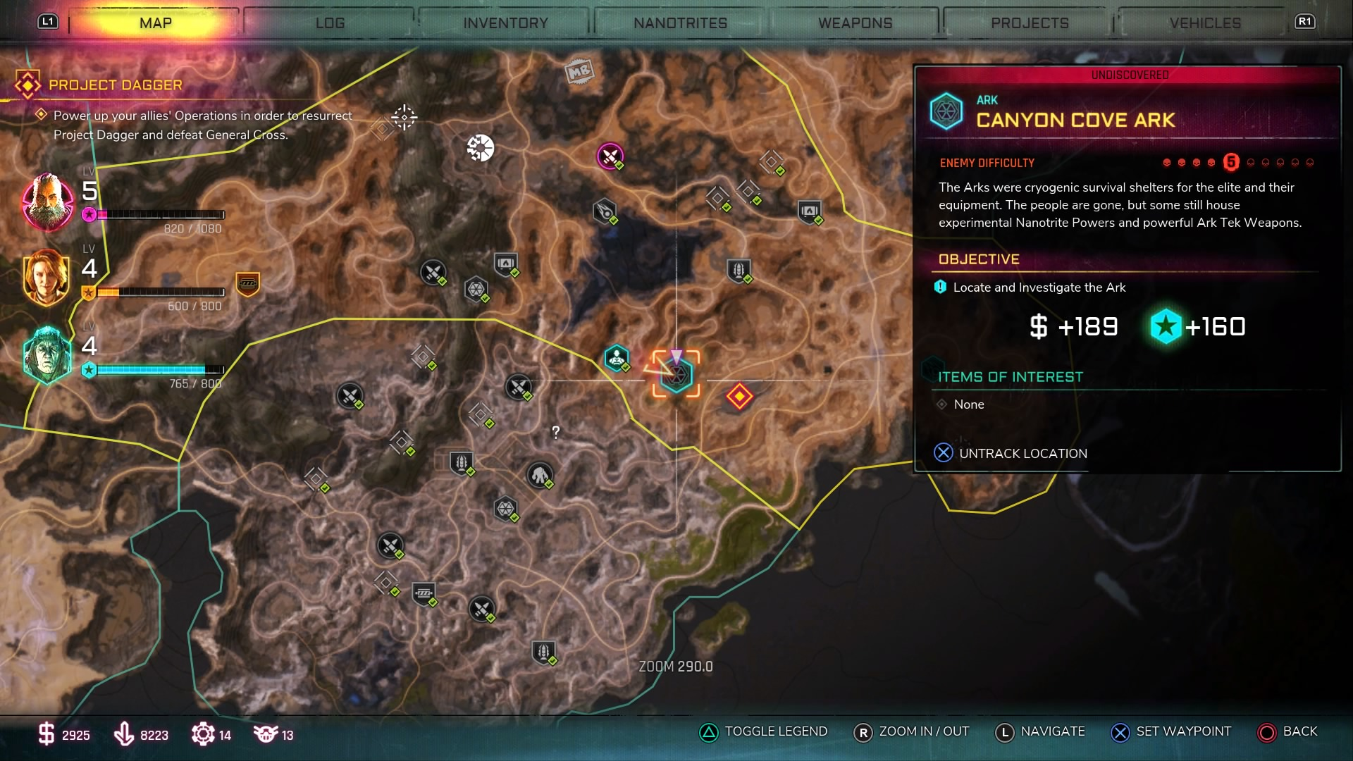 Map screen showing Canyon Cove Ark