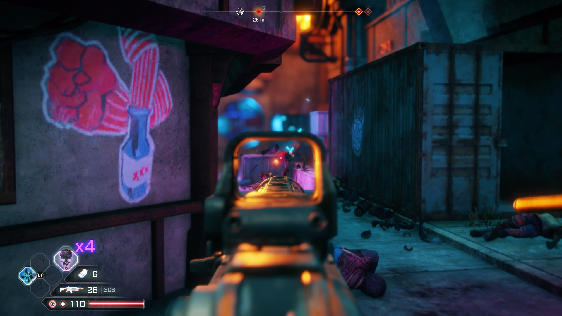 Player shooting down alley at enemies