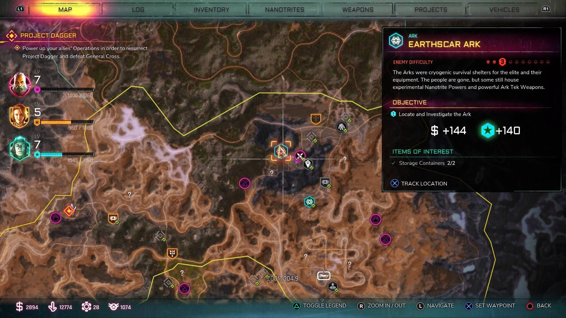 Map showing Earthscar Ark