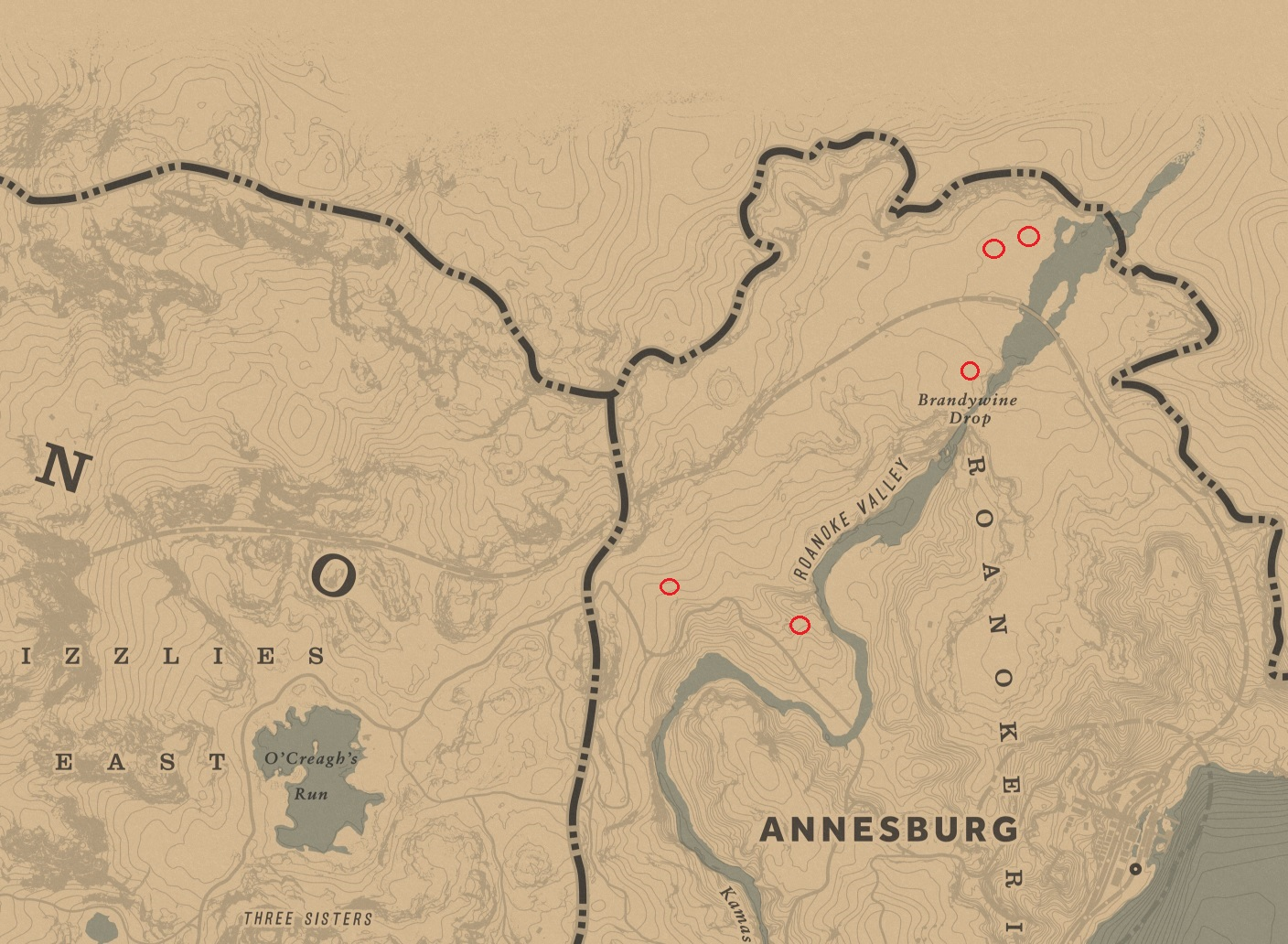 Map of Annesburg showing rams head locations in RDR2