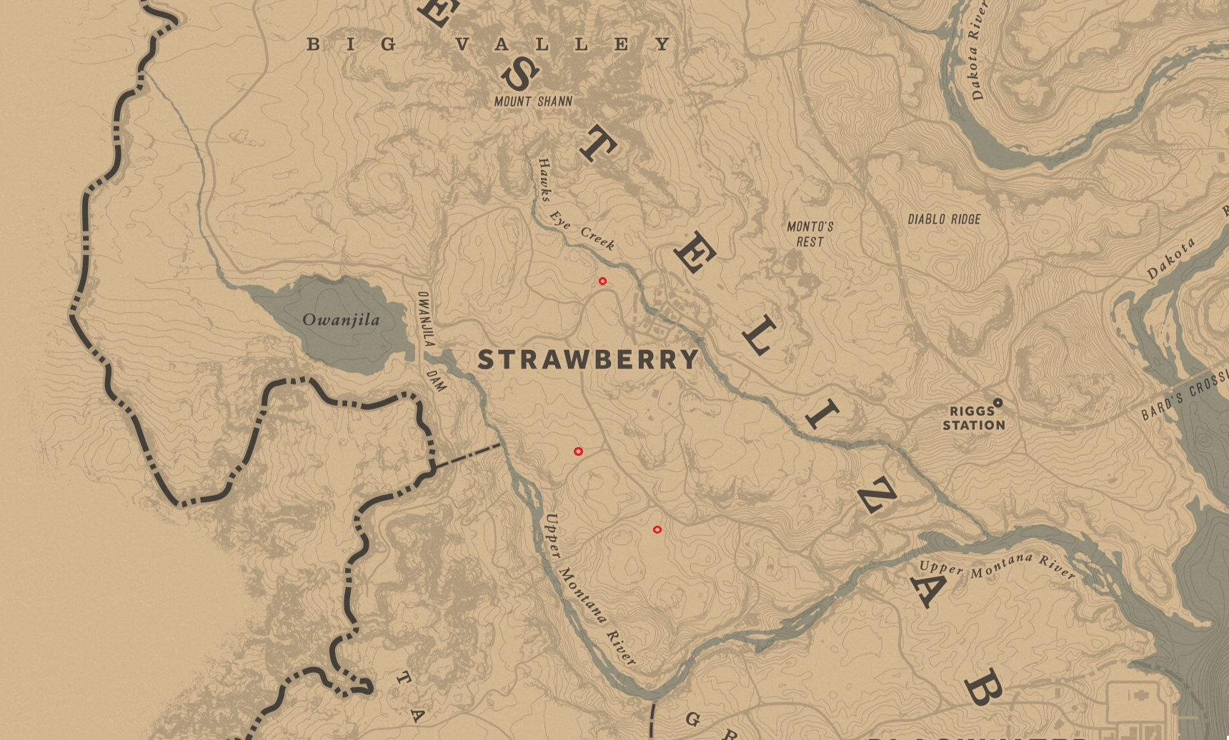 Map of Strawberry in Red Dead Redemption 2