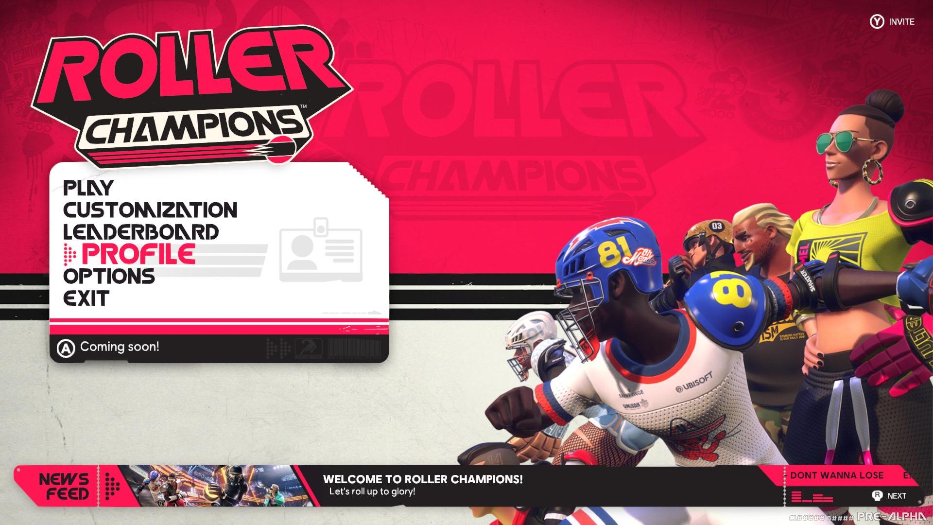 Roller Champions menu screen