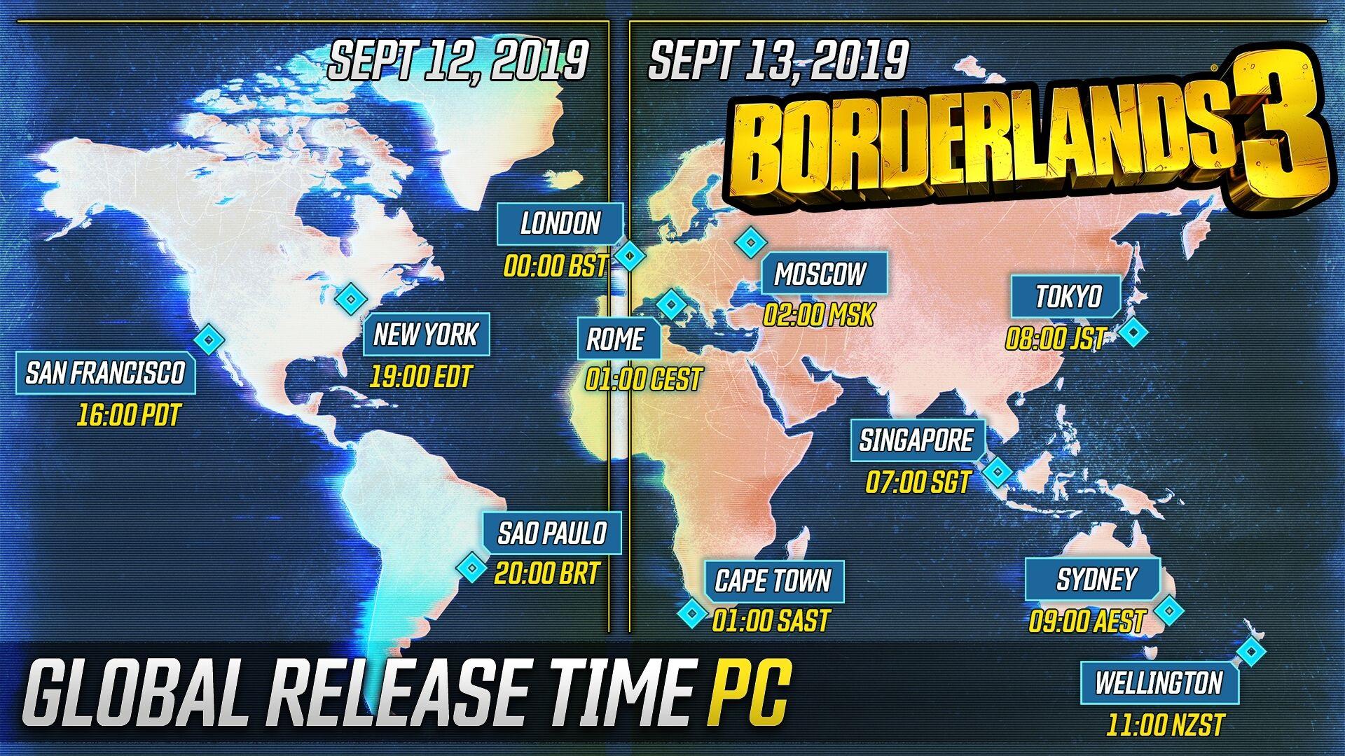 Borderlands 3 PC Release Times